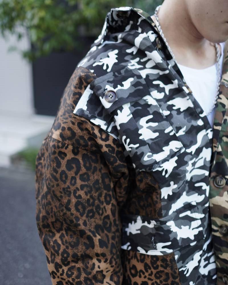 リバーシブルOBACHAN'Sパッチワークレオパードカモフラ長袖シャツジャケットの画像5